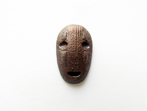 No Face Male Lapel Pin in Polished Bronzed Silver Steel