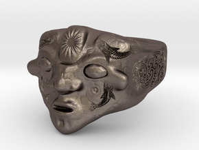 Tribal mask in Polished Bronzed Silver Steel: 8 / 56.75