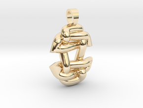 Asiatic style knot [pendant] in 14k Gold Plated Brass