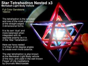 Sacred Geometry: 3 Merkabah StarTetrahedron Nest in Full Color Sandstone