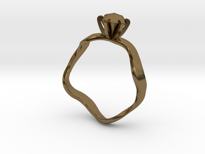 waved engagement ring in Polished Bronze: 6 / 51.5