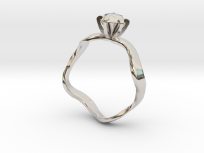 waved engagement ring in Platinum: 6 / 51.5