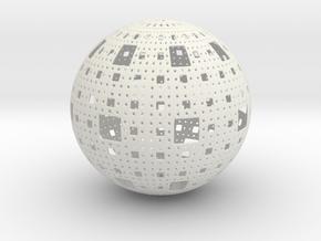 Menger Sphere in White Natural Versatile Plastic
