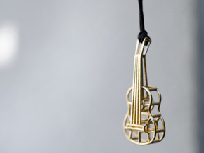 Guitar pendant in Natural Brass