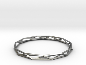 Nonagon-Hendecagon Wireframe Geometoric Ring in Natural Silver