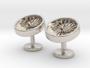 Jet Engine Cufflinks in Rhodium Plated Brass