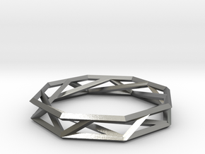 Octagon Wireframe Geometric Ring in Natural Silver
