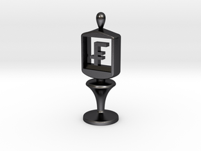 Currency symbol figurine,Franc in Polished and Bronzed Black Steel
