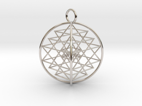 "3D Sri Yantra 4 Sided Symmetrical 2.2"" in Rhodium Plated Brass"
