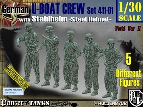 1/30 German U-Boot Crew Set411-01 in White Natural Versatile Plastic