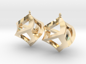Twisted Cube Earrings in 14k Gold Plated Brass