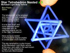 3 Merkabah Star Tetrahedrons Nested 50mm in White Strong & Flexible