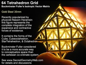64 Tetrahedron Grid 45mm in White Natural Versatile Plastic