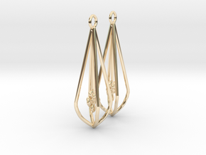 Elegant Bridal Flower Earrings in 14K Yellow Gold