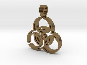 Biohazard [pendant] in Polished Bronze