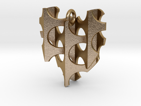 Woven-Heart-01 in Polished Gold Steel