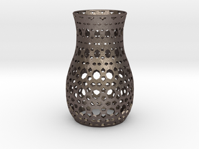 Tealight Sleeve Geometric - Small in Polished Bronzed Silver Steel
