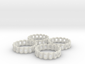 Crinkled Napkin Rings (4) in White Natural Versatile Plastic