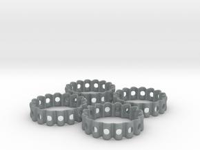 Crinkled Napkin Rings (4) in Polished Metallic Plastic