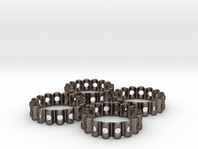 Crinkled Napkin Rings (4) in Polished Bronzed Silver Steel