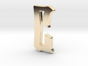 """C"" Pendant  in 14k Gold Plated Brass"