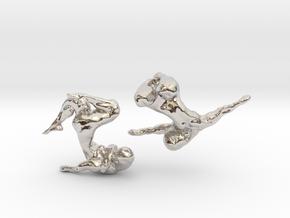 Sculptural Nudes Cufflinks in Rhodium Plated Brass