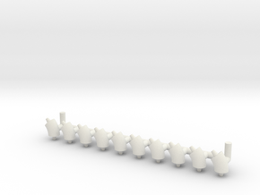 """ø2.4mm 3/32"""" Pipe Fittings 45° 10pc in White Natural Versatile Plastic"""