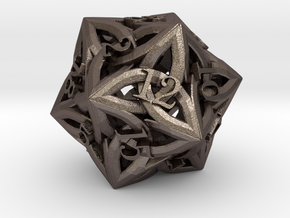 Celtic D20 - small (18mm) in Polished Bronzed Silver Steel