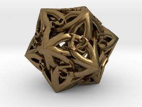 Celtic D20 - small (18mm) in Natural Bronze