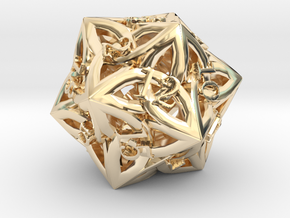 Celtic D20 - small (18mm) in 14k Gold Plated Brass