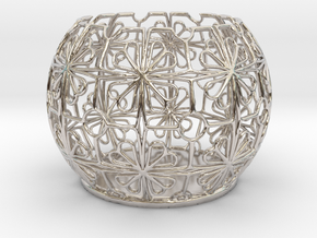 Tealight Holder Tiled Orb Indigo in Rhodium Plated Brass