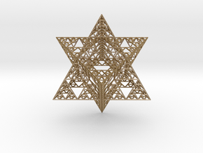 Sierpinski Merkaba III, Hollow  in Polished Gold Steel