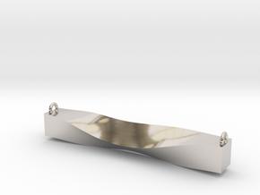 Cowl Bar Pendant in Rhodium Plated Brass