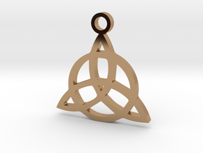 Triquetra Charm Pendant in Polished Brass: Small