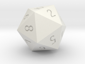 Customizeable Spindown D20 (1 Side Customization) in White Strong & Flexible