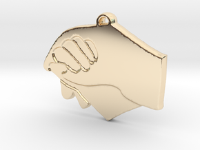 A mothers hand in 14k Gold Plated Brass