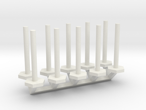 Stanchion Tube Barricade 1-50 Scale in White Natural Versatile Plastic