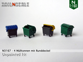 4 Müllcontainer mit Runddeckel (N 1:160) in Smooth Fine Detail Plastic