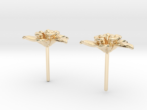 Columbine Flower Earrings in 14K Yellow Gold