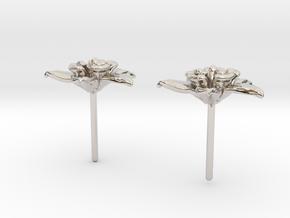Columbine Flower Earrings in Rhodium Plated Brass