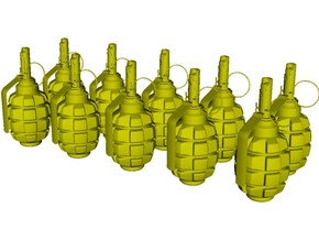 1/10 scale F-1 Soviet hand grenades x 10 in Smooth Fine Detail Plastic