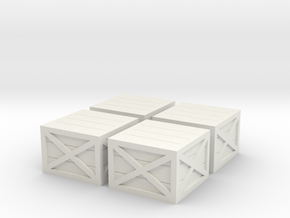 HO Scale Wooden Crates (V2) in White Natural Versatile Plastic: 1:87 - HO