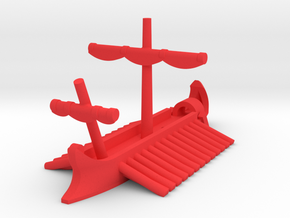 1/1200 Roman Pentaconter Bireme Game Pieces in Red Processed Versatile Plastic: Extra Small
