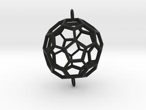 Buckyball Skeleton Pendant in Black Natural Versatile Plastic