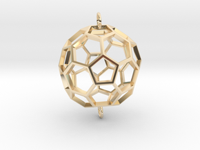 Buckyball Skeleton Pendant in 14k Gold Plated Brass