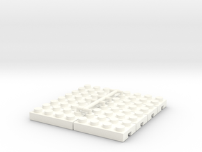 Adapter Lego-Fischertechnik 4x2-8 in White Processed Versatile Plastic