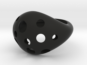 Moon Rock Statement Cocktail Ring in Black Premium Versatile Plastic: 8 / 56.75