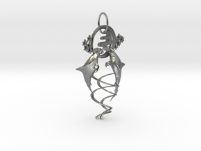 Hammerhead shark in Natural Silver