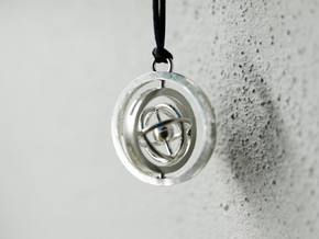 Double Rotating Planet - Time turner inspired in Interlocking Raw Silver