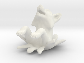 Leaping Fox Ornament in White Natural Versatile Plastic
